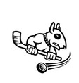 bull terrier with ice hockey stick mascot black vector image vector image