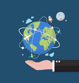 businessman holding earth globe on space vector image vector image