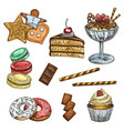 cake cupcake and ice cream dessert sketch vector image vector image