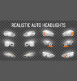 car headlights realistic set vector image