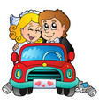 car with wedding couple vector image