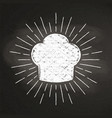 chefs toque chalk silhoutte with sun rays vector image