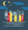 Cityscape with Skyscarpers and Half Moon at Night vector image vector image