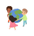 cute little kids holding hands around the world vector image vector image