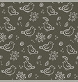 cute monochrome pattern with birds and flowers vector image vector image
