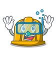 diving construction helmet character cartoon vector image