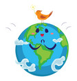 earth day happy planet surrounded by clouds looks vector image vector image