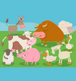 farm animal characters group cartoon vector image vector image