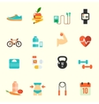 Fitness and health icons with white background vector image vector image