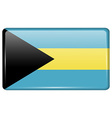 Flags Bahamas in the form of a magnet on vector image vector image