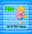 flashcard letter n is for nine vector image