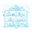 Flat big house silhouette blue vector image vector image