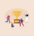 flat people characters with prize golden cup vector image