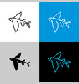 flying fish thin linear simple icon side view vector image vector image