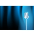 Gold old microphone against the illuminated blue vector image