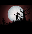 halloween background with zombies and the moon on vector image