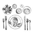 hand drawn table setting vector image