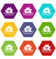 house sinking in a water icon set color hexahedron vector image vector image