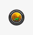 logo forest monkey vintage badge vector image