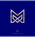 logo premium m monogram intertwined gold lines vector image vector image