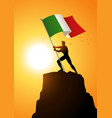 man holding the flag of italy vector image vector image
