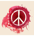 Peace sign brush stroke on red ink splat vector image