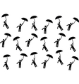 Pictogram people flying with umbrellas vector image vector image
