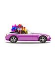pink modern cartoon cabriolet car full of gift vector image vector image