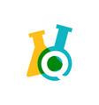 q letter lab laboratory glassware beaker logo icon vector image