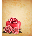 Retro background with beautiful red roses and gift vector image vector image