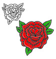 rose in tattoo style isolated on white background vector image vector image