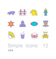 set simple line icons usa vector image vector image