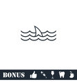 Shark fin icon flat vector image vector image