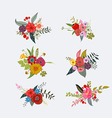 Spring floral clusters flower wreaths bouquets vector image vector image