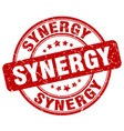 synergy red grunge stamp vector image vector image