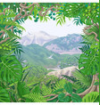 tropical frame on green landscape vector image vector image