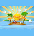 tropical palm on island with sea vector image