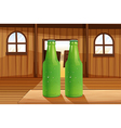Two green bottles above the table vector image vector image