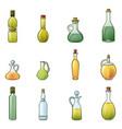 vinegar bottle icons set cartoon style vector image