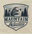 vintage design a ski lift with mountains vector image vector image