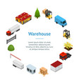 warehouse concept banner card circle 3d isometric vector image vector image