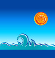 waves and sun vector image