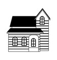 wooden house real estate in black and white vector image vector image