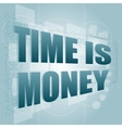 words time is money on digital screen time concept vector image