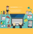 working place office desk concept in flat design 3 vector image vector image