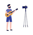 young man playing guitar and recording video with vector image