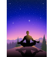 a man meditating on mountain vector image vector image