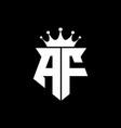af logo monogram shield shape with crown design vector image vector image