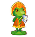 animated princess frog in clothes isolated on vector image