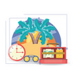 bag with important thing and beach landscape vector image